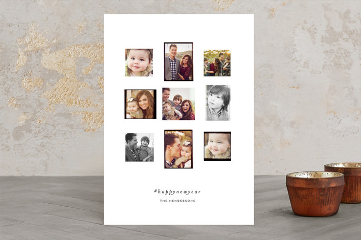 """Gram Fam"" - Bohemian, Vintage Holiday Photo Cards in Green by Olivia Kanaley."