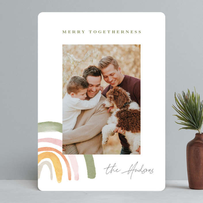 """""""Rainbow Christmas"""" - Modern Holiday Photo Cards in Sage by Monika Drachal."""