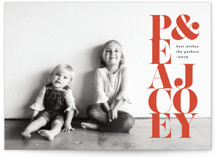 This is a red holiday photo card by Kelly Schmidt called Stacked Peace and Joy with standard printing on smooth signature in standard.