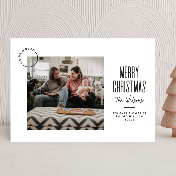 """Modern Move"" - Modern Holiday Photo Cards in Raven by Owl and Toad."