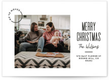 This is a black holiday photo card by Owl and Toad called Modern Move with standard printing on smooth signature in standard.