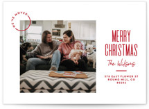 This is a red holiday photo card by Owl and Toad called Modern Move with standard printing on smooth signature in standard.