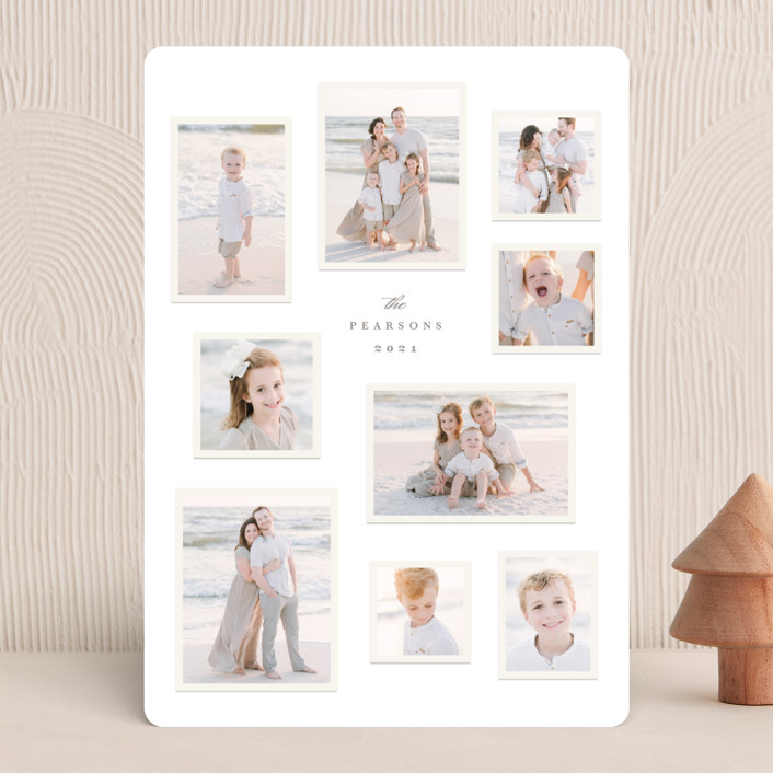 """""""Modern Snapshots"""" - Vintage Holiday Photo Cards in Smoke by Hooray Creative."""