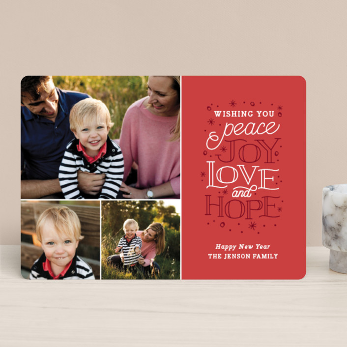 """""""Sentiments"""" - Bohemian Holiday Photo Cards in Cranberry by Sarah Brown."""