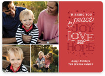 This is a red holiday photo card by Sarah Brown called Sentiments with standard printing on smooth signature in standard.