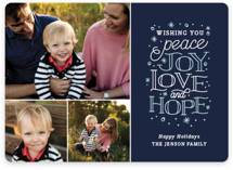 This is a blue holiday photo card by Sarah Brown called Sentiments with standard printing on smooth signature in standard.