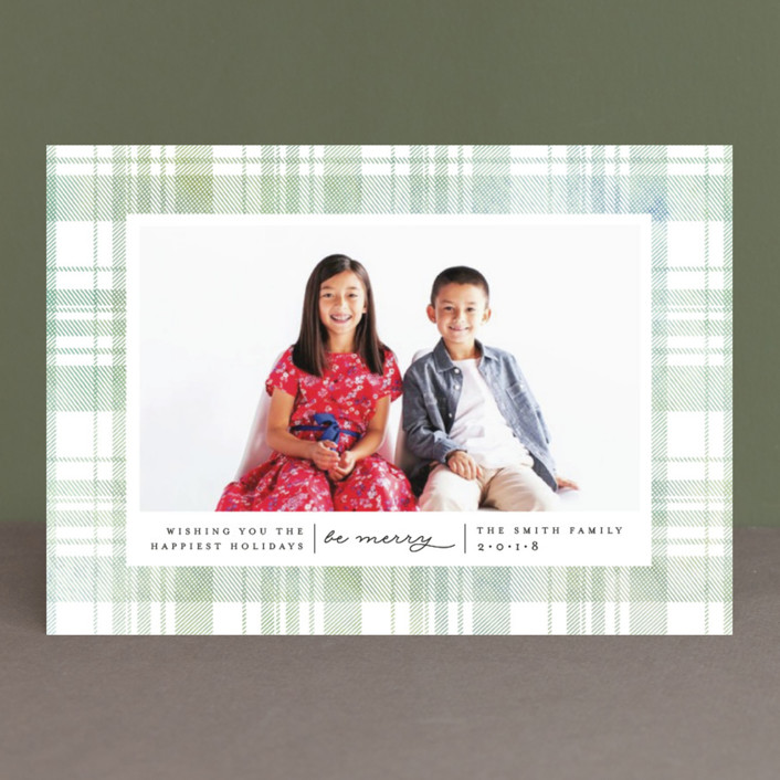"""""""Festive Plaid"""" - Holiday Photo Cards in Evergreen by Carolyn Nicks."""