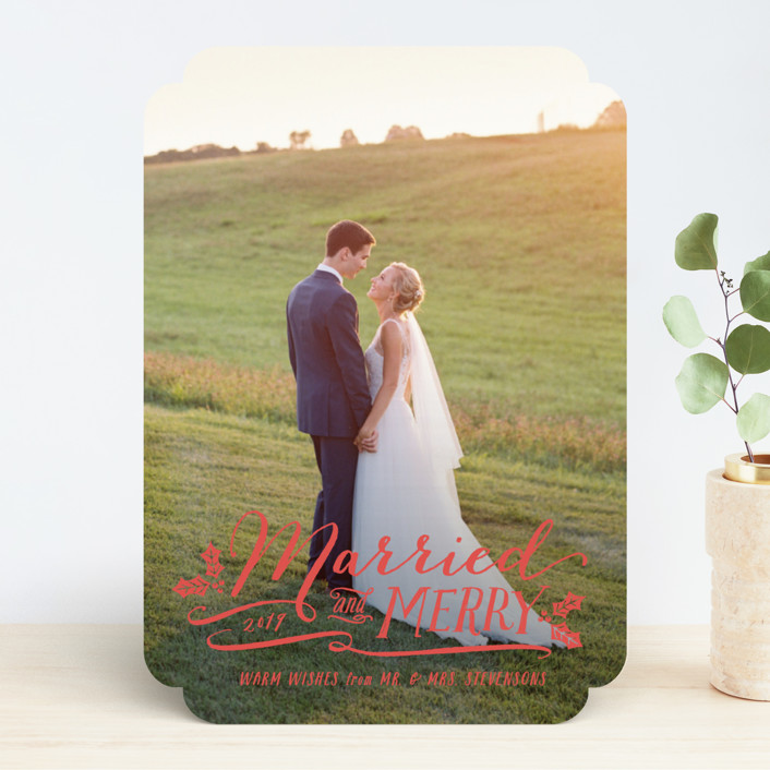 """""""Married and Merry"""" - Holiday Photo Cards in Wedding Dress by Hooray Creative."""