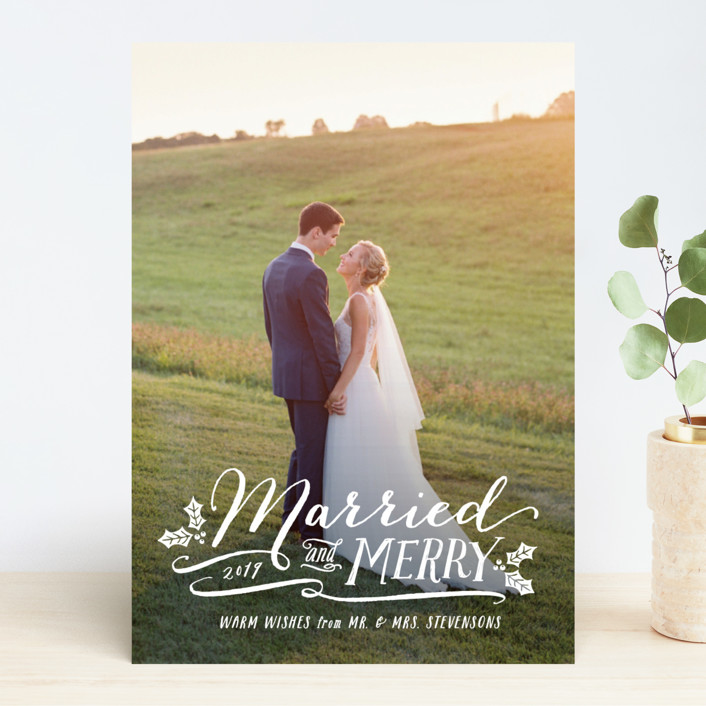 """Married and Merry"" - Holiday Photo Cards in Wedding Dress by Hooray Creative."