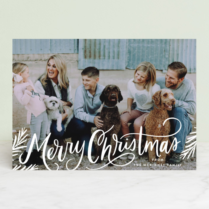 """Classic Merry Christmas Pines"" - Bohemian Holiday Photo Cards in Cream by Alethea and Ruth."