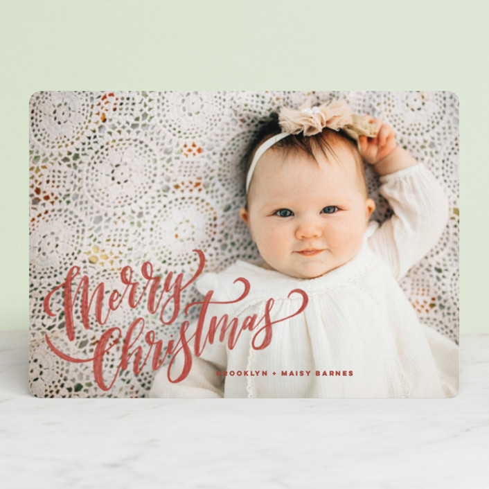 """Hand-Lettered Merry Christmas"" - Holiday Photo Cards in Vanilla by Wildfield Paper Co.."
