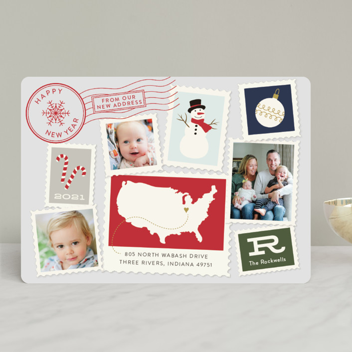 """Postmark"" - Vintage Holiday Photo Cards in Midnight by Sarah Brown."