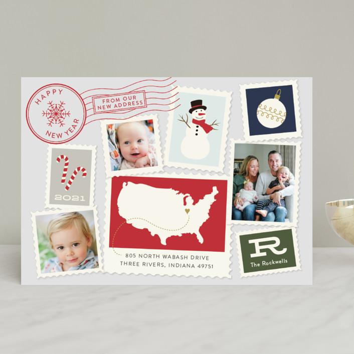"""Postmark"" - Vintage Holiday Photo Cards in Fog by Sarah Brown."