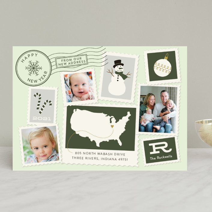 """Postmark"" - Vintage Holiday Photo Cards in Fog by Sarah Brown."