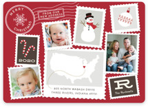 This is a red holiday photo card by Sarah Brown called Postmark with standard printing on smooth signature in standard.