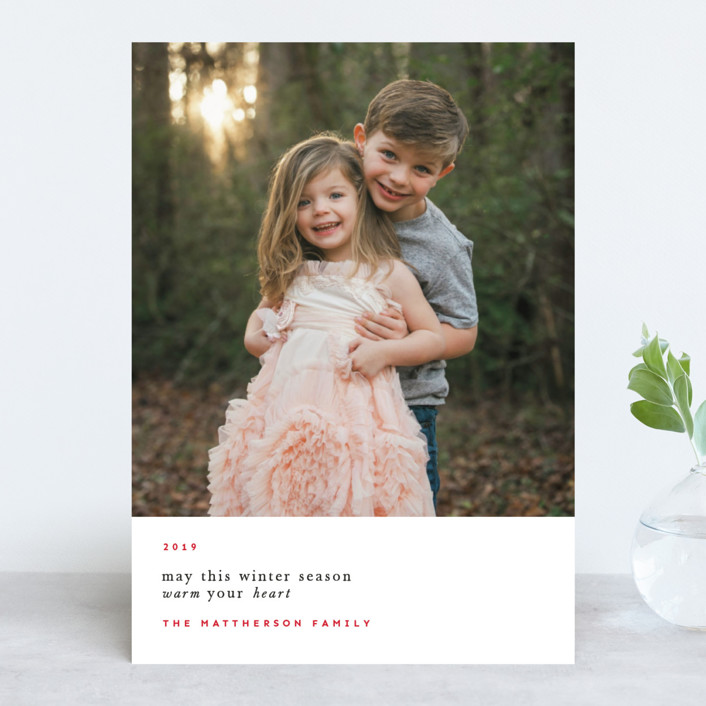 """Cold Winter, Warm Heart"" - Holiday Photo Cards in Cranberry by Emmeline Bramble."