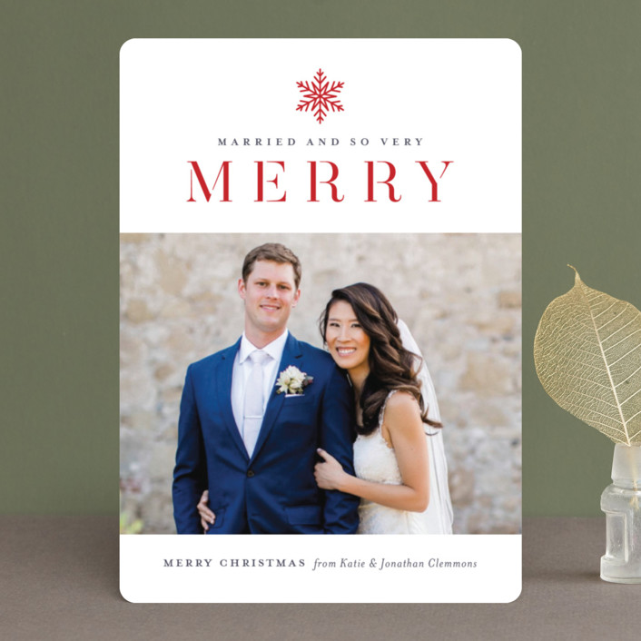 """Snow Merry"" - Holiday Photo Cards in Cardinal by Jessica Williams."