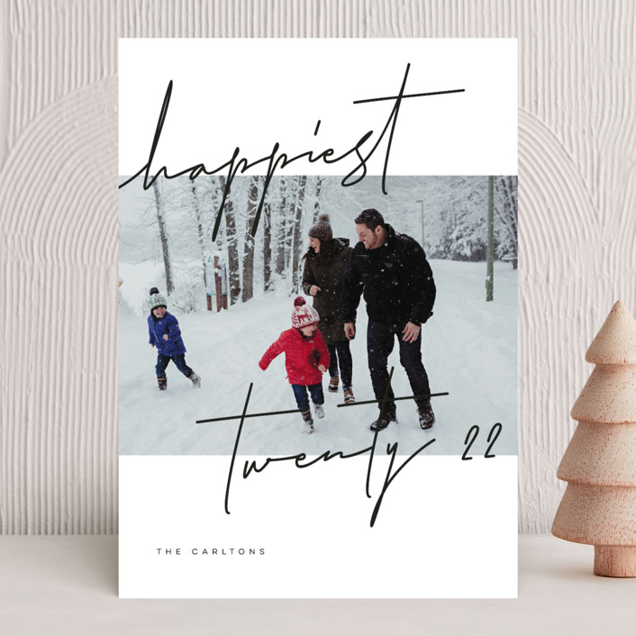 """""""Happiest Script"""" - Holiday Photo Cards in Coal by Michelle Taylor."""