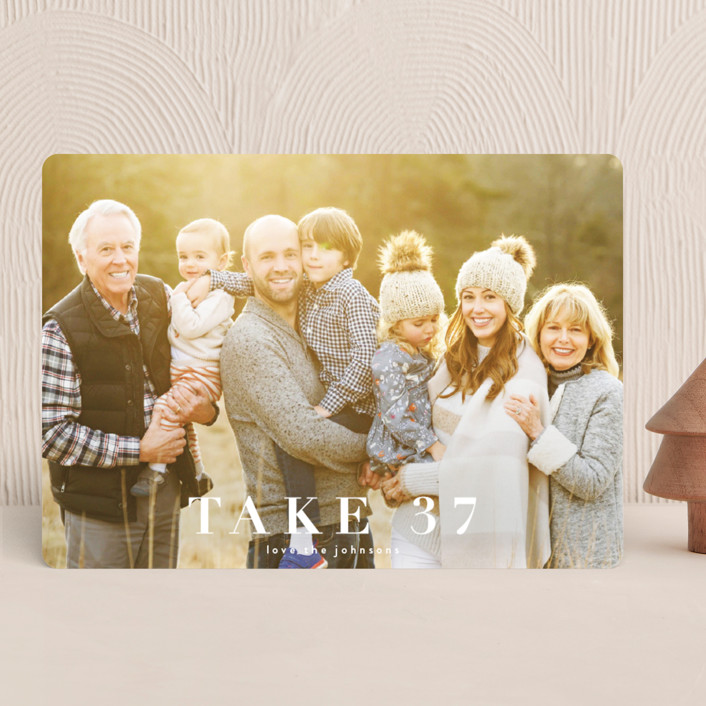 """take 37"" - Funny Holiday Photo Cards in Snow by Kasia Labocki."