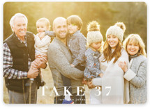 This is a white holiday photo card by Kasia Labocki called take 37 with standard printing on smooth signature in standard.