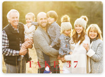 This is a red holiday photo card by Kasia Labocki called take 37 with standard printing on smooth signature in standard.