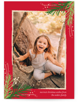 This is a green holiday photo card by Jessica Williams called Golden Evergreens with standard printing on smooth signature in standard.