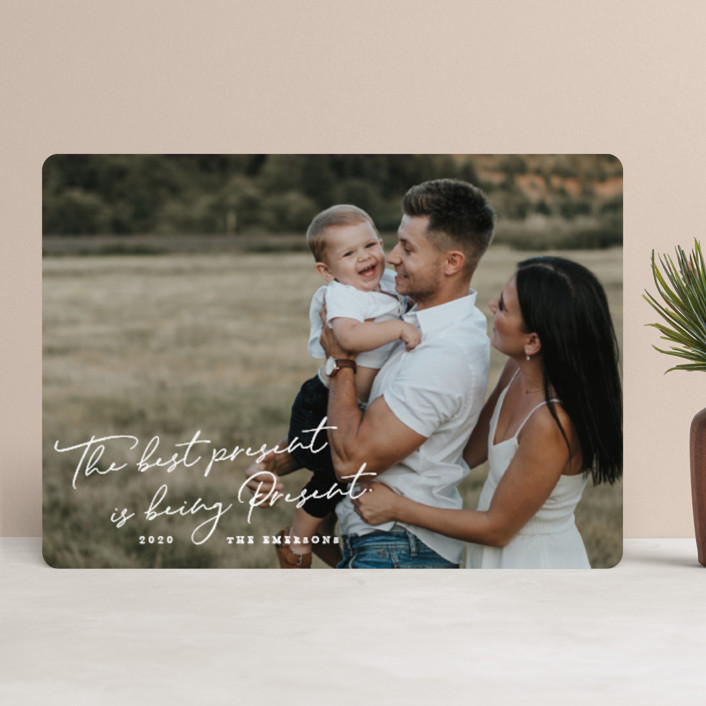 """""""Being Present"""" - Holiday Photo Cards in Snowflake by Paper Raven Co.."""