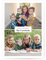 This is a black holiday photo card by Genna Cowsert called Label with standard printing on smooth signature in standard.