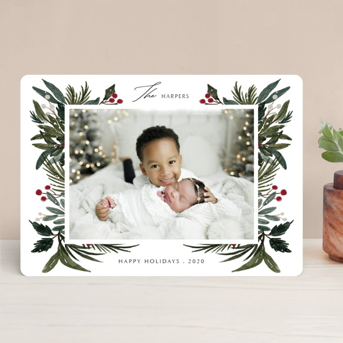 """""""Festive Love"""" - Holiday Photo Cards in Fern by Elly."""