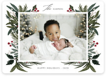 This is a green holiday photo card by Elly called Festive Love with standard printing on smooth signature in standard.