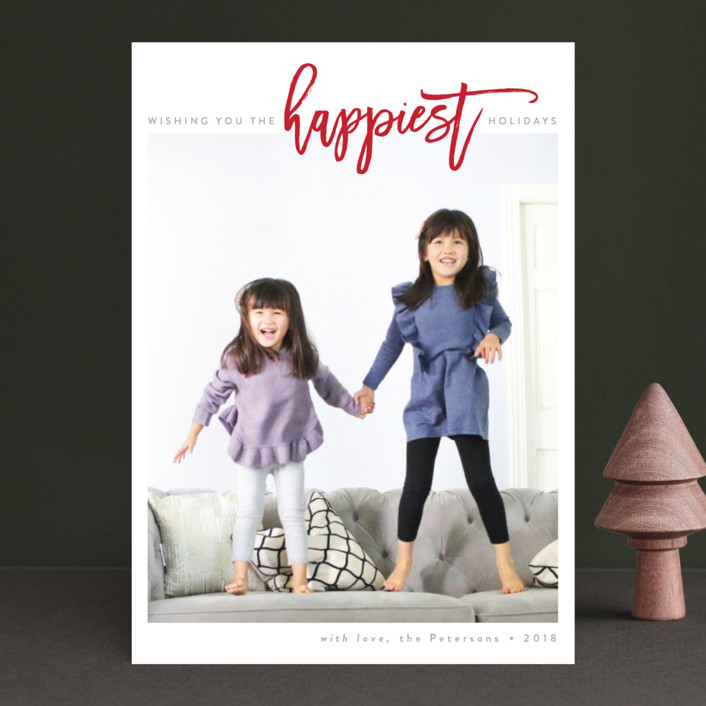 """The Happiest Holidays"" - Holiday Photo Cards in Berry Red by JoAnn Jinks."