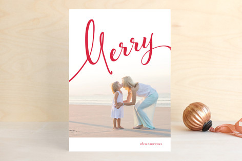 Calligraphic Flourish Holiday Photo Cards