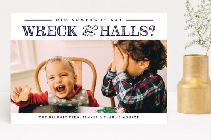 """""""Wreck the Halls"""" - Holiday Photo Cards in Ink Stai by Sara Hicks Malone."""