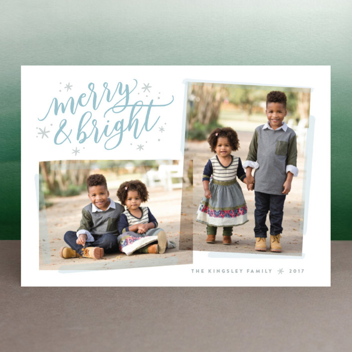 """Twofer Merry"" - Holiday Photo Cards in Frost by Hooray Creative."