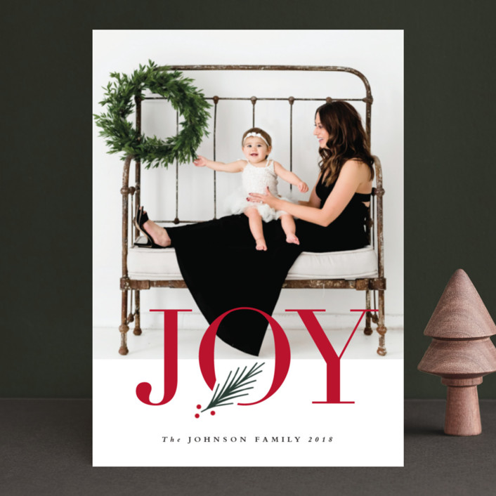 """J O Y"" - Holiday Photo Cards in White by Stacey Meacham."