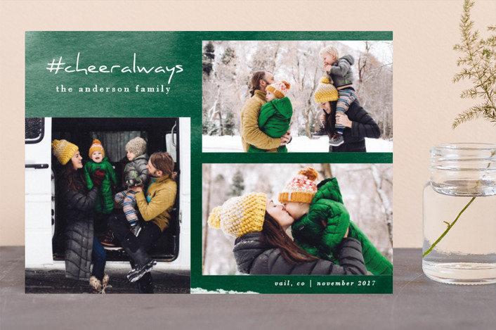 """Love Always"" - Modern Holiday Photo Cards in Pine by Carol Fazio."