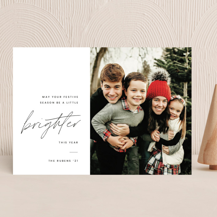 """""""Brighter"""" - Holiday Photo Cards in Coal by Blustery August."""