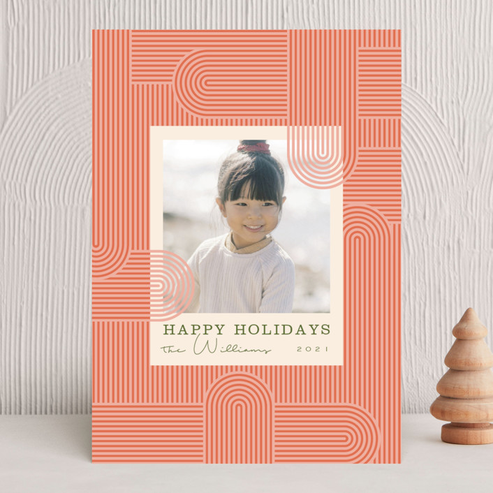 """""""Lined Path"""" - Vintage Holiday Photo Cards in Candy Cane by Danie Romrell."""