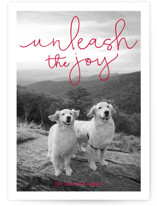 This is a red holiday photo card by Sandra Picco Design called Unleash the Joy with standard printing on smooth signature in standard.
