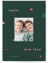 This is a green holiday photo card by Meg Gleason called Symphony with standard printing on smooth signature in standard.