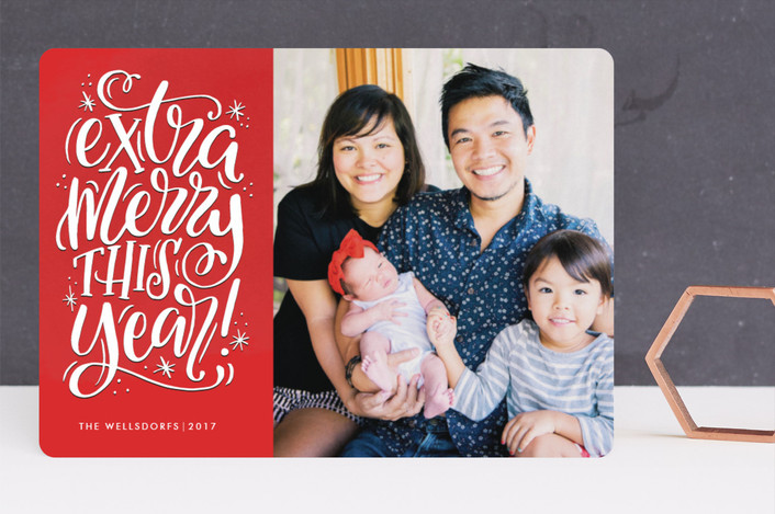 """""""Extra Merry This Year"""" - Vintage Holiday Photo Cards in Ruby by Makewells."""
