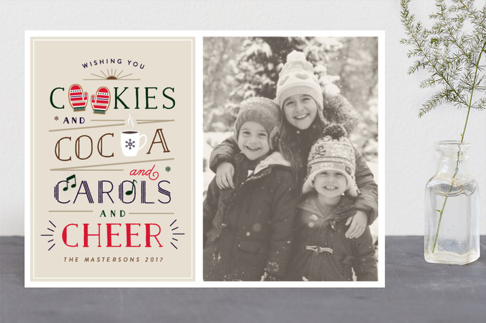 """C Yourself in Christmas"" - Vintage Holiday Photo Cards in Biscuit by Little Words Design."