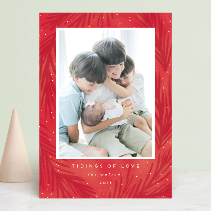 """""""tidings of love"""" - Bohemian Holiday Photo Cards in Crimson by Angela Garrick."""