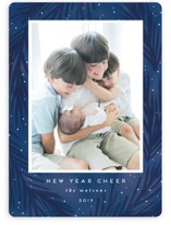 This is a blue holiday photo card by Angela Garrick called tidings of love with standard printing on smooth signature in standard.