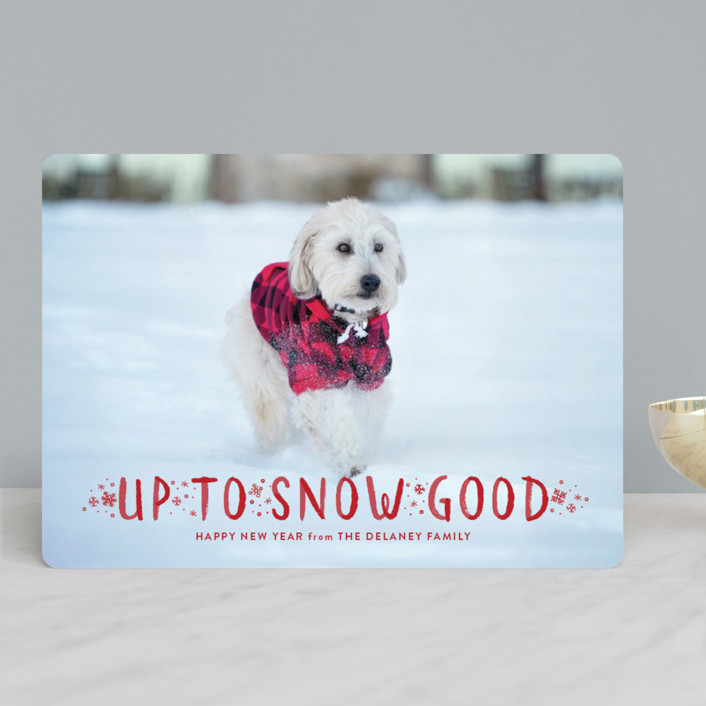 """Snow Good"" - Funny Holiday Photo Cards in Cranberry by Sarah Brown."