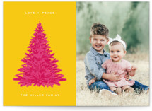 This is a yellow holiday photo card by Alex Elko Design called Pink Tree with standard printing on smooth signature in standard.