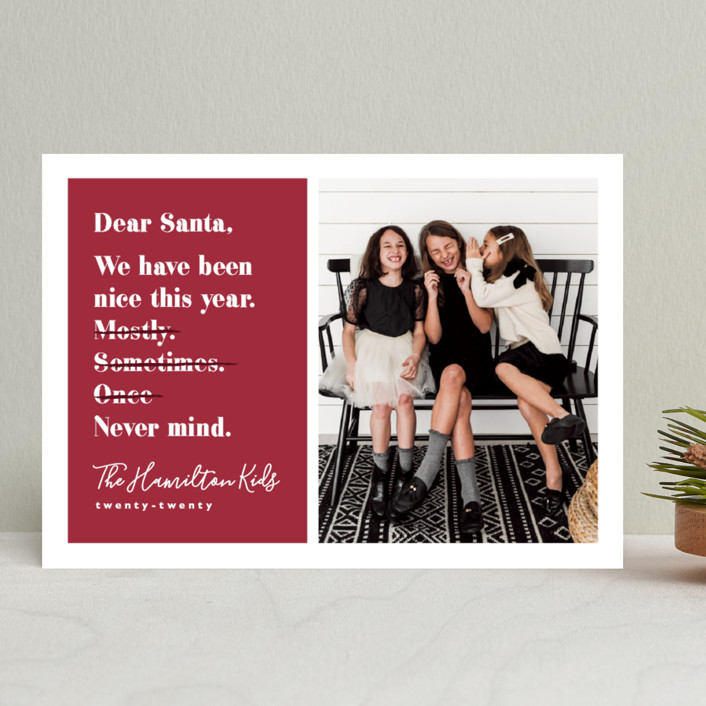 """""""Never mind"""" - Funny Holiday Photo Cards in Berry by Hudson Meet Rose."""