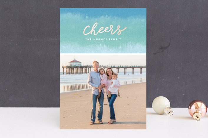 """Dip Dyed Wishes"" - Bohemian Holiday Photo Cards in Aqua by Hooray Creative."