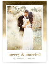 This is a beige holiday photo card by Pixel and Hank called Established in Color with standard printing on smooth signature in standard.