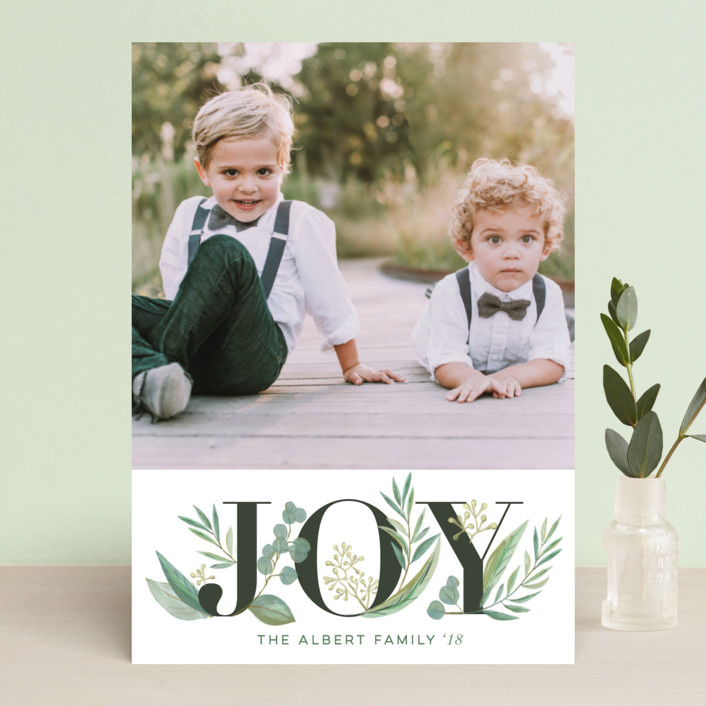 """Greenery"" - Holiday Photo Cards in Wreath by Jessie Steury."